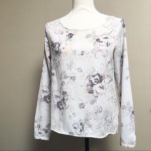 LC Lauren Conrad floral print blouse with lace